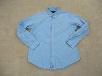 Ralph Lauren Polo Button Up Shirt Adult Large Blue Yellow Plaid Pony Mens B16