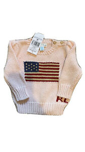 RL baby girl Pink knitted sweater USA flag 9 Months