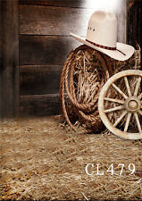 Vinyl 5x7FT Studio Backdrop Photo Background Straw Rustic Scene Cowboy Hat Rope