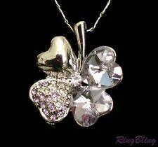 4 Hoja Trébol Collar De Cristal Lila Lucky encanto Colgante. Reino Unido Proveedor! 50% De Descuento!