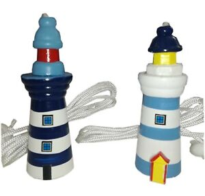 Brand New Seaside Nautical Wooden Lighthouse Cord Pull Gift 2 Colours
