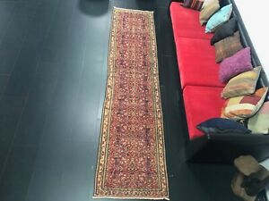 Red Turkish Runner Rug, Oriental Design Runner, Vintage Rug, Antique Rug 2351