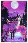 "Timberwolves Flocked Blacklight Poster 23"" x 35"" Two Wolves Under Moonlight"