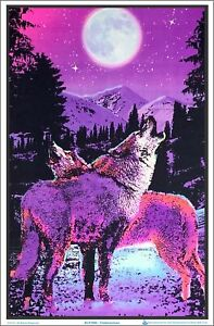 "Timberwolves Flocked Blacklight Poster 23"" x 35"" Two Wolves Under Moonlight"