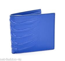 ALEXANDER McQUEEN MEN'S RIBCAGE BLUE LEATHER BIFOLD WALLET BNWT