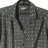 LEEMAR Vintage Blouse Shirt Womens Size 10 Geometric Black Multi Color Made USA