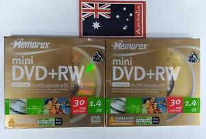 2x Memorex Mini DVD+RW Scratch Resistance 30 Min 1.4 GB 4x 8cm for DVD cam&pc