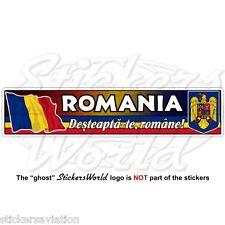 """Rumanía bandera rumana-Escudo De Armas-lema 180 mm (7,1"""") Parachoques Vinilo Pegatina Calcomanía"""