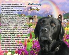 Rainbow Bridge Poem Black Lab Dog Memorial Picture Personalized w/Pet's Name