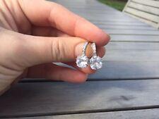 18ct White Gold White Sapphire Hoop Earrings filled crystal lever back Topaz