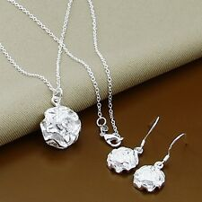 New 925 Sterling Silver Rose Pendant Necklace and Earrings FAST FREE SHIPPING