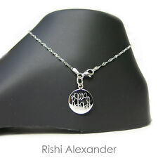Link Monogram Personalized Anklet 925 Sterling Silver Delicate Coffee