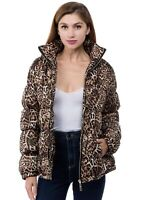 Women's Juniors Leopard Quilted Poly Filled Fashion Winter  Fall Jacket Coat