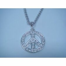 LARGE SILVER OR GOLD PEACE PENDANT MEDALLION AND 21 INCH NECKLACE