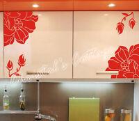 Set of 4 Flower Vinyl Wall Art Graphic Sticker Decals Fashionable Decoration