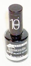 RIMMEL Wear 10 +Minerals Nail Polish BLACK SATIN #399