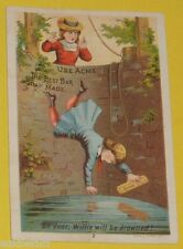Acme Bar Soap - Boy Falling Into A Well 1890s Color Ad Card Nice SEE!