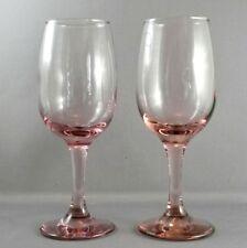 "Libbey Premiere Pink Wine Glasses Set of 2 Goblets 8 oz  7.25"""