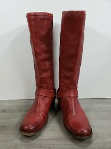 Frye Womens Phillip Harness Tall Riding Boots Burnt Red Shoe Size 8.5 B   76850