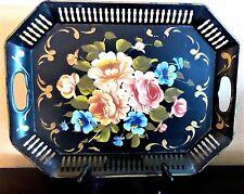 Vintage Black Metal Toleware Tray Hand Painted Flowers Pink Blue Orange Green