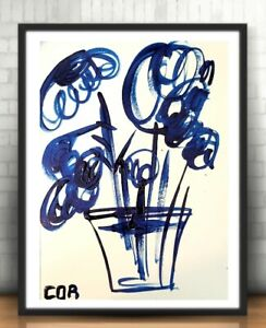 EXPRESSIONISM ACRYLIC PAINTING COLLECTIBLE GALLERY FLORAL MODERNISM FINE ART