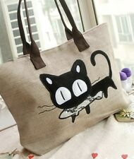 Cute Cat With Fish Canvas Tote Bag Natural Beige Women's Casual Shoulder Bag