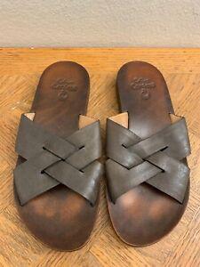 Calleen Cordero U.S.A Handmade In LA Sliders Sandal Women's Sz 8.5 Olive Brown