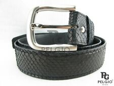 "PELGIO Genuine Python Snake Skin Leather Casual Soft Men's Belt 46"" Long Black"