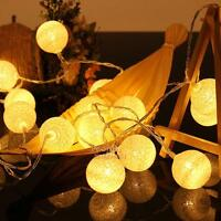 20 LED Cotton Ball Fairy String Lights Christmas Wedding Xmas Tree Party Decor