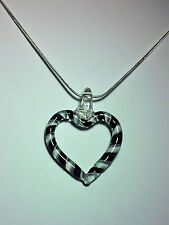 Murano Glass Heart Pendant in Black on 925 Sterling Silver Necklace