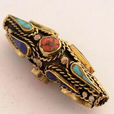 Turquoise Coral Brass Focal Beads Ethnic Tribal Gypsy Boho Bohemian Nepal AA57