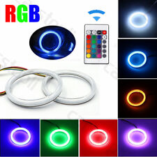 Pair RGB LED Angel Eyes Light COB Car Headlight Halo Ring 70mm Remote Control