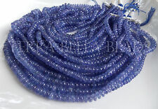 "8"" strand AAA TANZANITE gem stone blue violet smooth rondelle beads 4mm - 5mm"