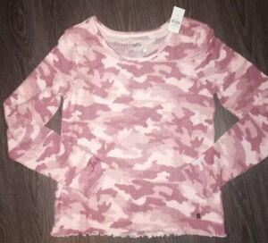 Girls justice long sleeve waffle knit size 16/18 new pink camo