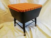 MID CENTURY RETRO SEWING STOOL, SEWING BOX WITH 'DANSETTE' LEGS