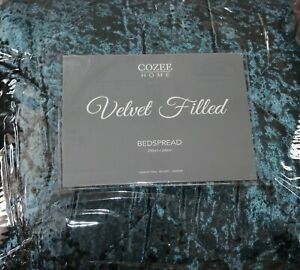 Juniper Cozee Home Luxe Quilted Panned Velvet Filled Bedspread  One Size New
