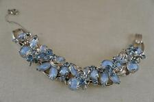 GORGEOUS! JULIANA Powder Blue Givre & Rhinestone Silver Leaf Over Wire Bracelet!