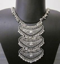 Handmade Statement Bold Chain Pendant Vintage Silver Boho Gypsy Fashion Jewelry