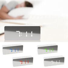 Mirror Digital LED Alarm Clock Thermometer Night Light Snooze Clock USB Charging