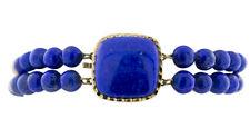 14K Yellow Gold Spacers and Clasp Natural Blue Lapis Lazuli Bead Bangle Bracelet