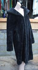 Abrigo Negro 14-16 cuello grande imitación piel suntuoso maravilloso + Con Capucha Cálido & Elegante