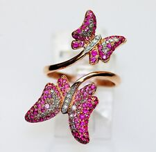 18k ROSE GOLD WHITE DIAMOND RUBY PINK SAPPHIRE STATEMENT BY PASS BUTTERFLY RING