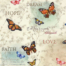 Quilting Patchwork Sewing Fabric DREAM GARDEN Butterfly Allover Cotton 50x55c...
