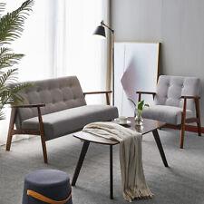 Scandinavian Armchair Linen Fabric Seat Sofa Soft Chair Lounge Settee Wood Table