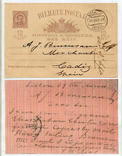 Portugal Entero Postal Circulado a Cadiz año 1889 (CQ-82)