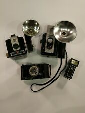 Lot Of Vintage Cameras Argus Brownie Agfa with 2 Flash Holders