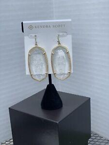 Kendra Scott Danielle Drop Earrings in Clear Crackle Gold