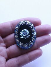 Vintage Blue Rainbow Glass Cameo Rose Oval Cabochon