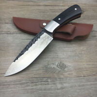 Handmade Forged Damascus Pattern Steel Hunting Knife Survival Leather Sheath