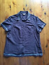 Pretty WOMBAT Tailored Like Linen Blend Shirt w Embroidery Detail sz M = 14 - 16